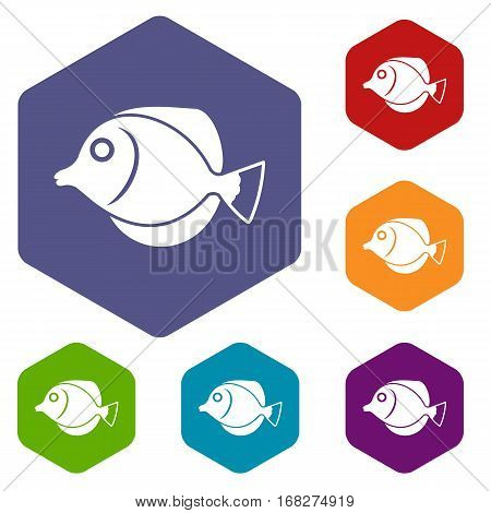 Tang fish, Zebrasoma flavescens icons set rhombus in different colors isolated on white background