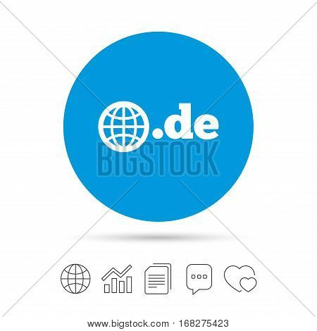 Domain DE sign icon. Top-level internet domain symbol with globe. Copy files, chat speech bubble and chart web icons. Vector