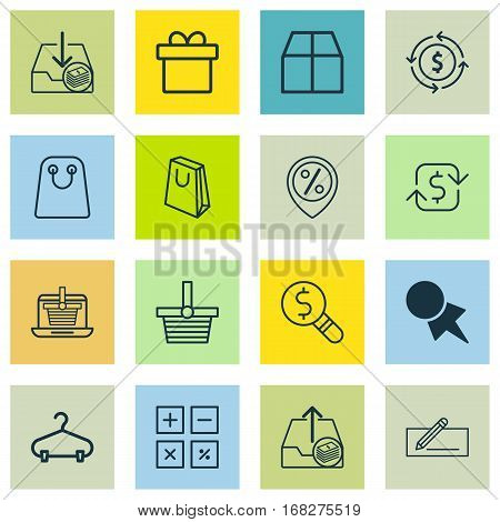 Set Of 16 Ecommerce Icons. Includes Present, Money Transfer, Business Inspection And Other Symbols. Beautiful Design Elements.