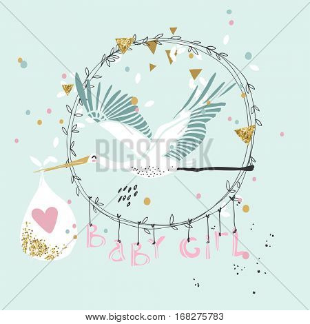 baby girl announcement card with stork