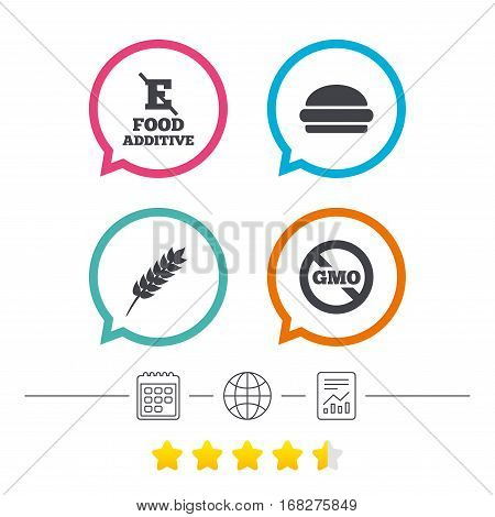 Food additive icon. Hamburger fast food sign. Gluten free and No GMO symbols. Without E acid stabilizers. Calendar, internet globe and report linear icons. Star vote ranking. Vector