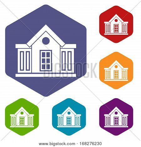 Mansion icons set rhombus in different colors isolated on white background