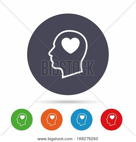 Head with heart sign icon. Male human head in love symbol. Round colourful buttons with flat icons. Vector