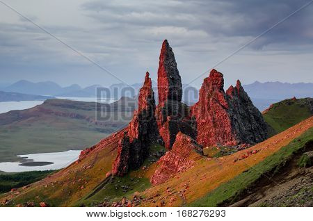 Old Man of Storr rock formation in red sunrise Isle of Skye Scotland