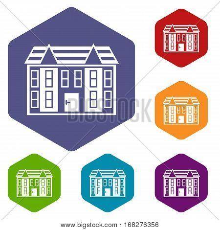 Large two-storey house icons set rhombus in different colors isolated on white background
