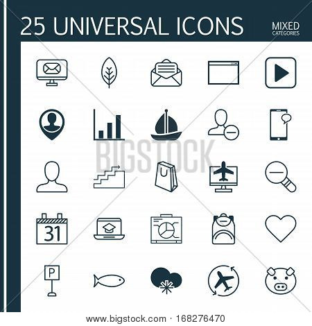 Set Of 25 Universal Editable Icons. Can Be Used For Web, Mobile And App Design. Includes Elements Such As Piglet, Read Message, Start Song And More.