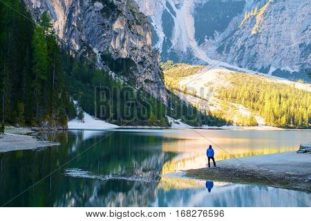 Man Traveler Standing Alone  Braies Lake