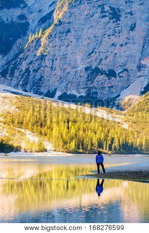 Man Traveler Standing Alone  Braies Lake
