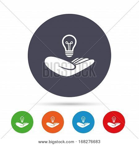 Idea patent insurance sign. Hand holds lamp bulb symbol. Intellectual Property. Round colourful buttons with flat icons. Vector
