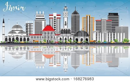 Izmir Skyline with Gray Buildings, Blue Sky and Reflections. Business Travel and Tourism Concept with Modern Architecture. Image for Presentation Banner Placard and Web Site.