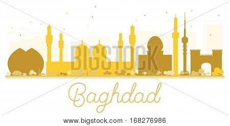 Baghdad City skyline golden silhouette. Simple flat concept for tourism presentation, banner, placard or web site. Cityscape with landmarks