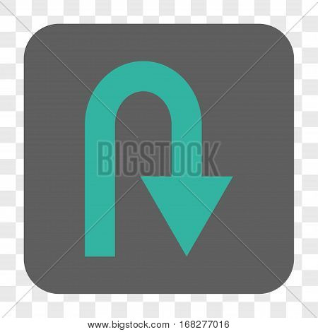 U Turn interface toolbar button. Vector icon style is a flat symbol in a rounded square button cyan and gray colors chess transparent background.