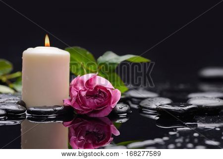 Lying on pink rose ,leaf with white candle and therapy stones