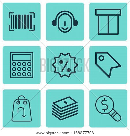 Set Of 9 Commerce Icons. Includes Business Inspection, Employee, Calculator And Other Symbols. Beautiful Design Elements.