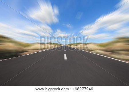 driving straight forward on highway - motion blur