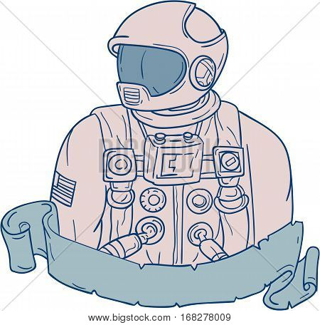 Drawing sketch style illustration of an astronaut bust looking to the side set on isolated white background with ribbon.
