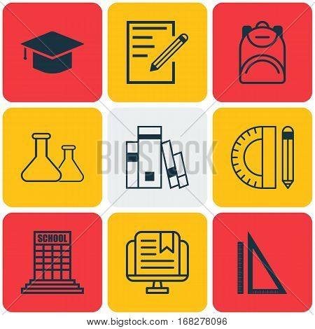 Set Of 9 School Icons. Includes Haversack, Chemical, Measurement And Other Symbols. Beautiful Design Elements.