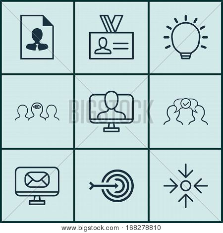 Set Of 9 Business Management Icons. Includes Online Identity, Business Aim, Great Glimpse And Other Symbols. Beautiful Design Elements.