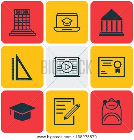 Set Of 9 Education Icons. Includes Graduation, Taped Book, Measurement And Other Symbols. Beautiful Design Elements.