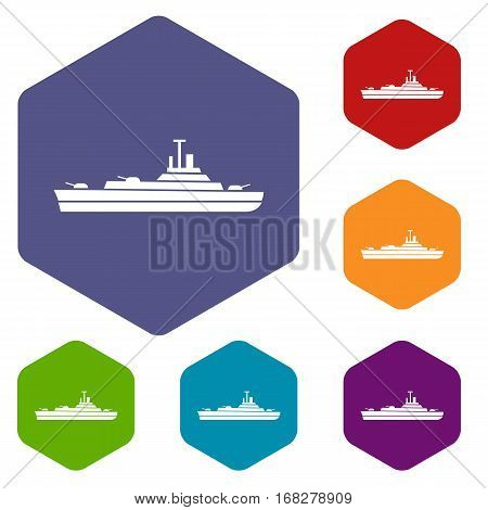 Warship icons set rhombus in different colors isolated on white background