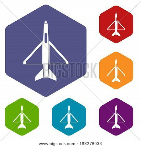 Military aircraft icons set rhombus in different colors isolated on white background