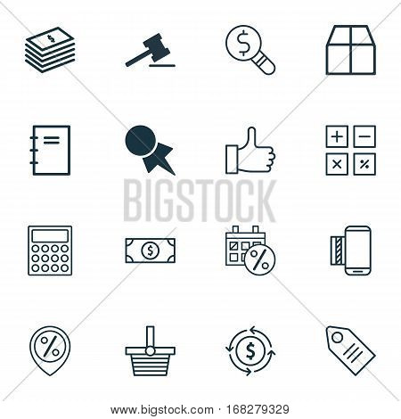 Set Of 16 Ecommerce Icons. Includes Black Friday, Buck, Spiral Notebook And Other Symbols. Beautiful Design Elements.
