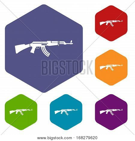 Military rifle icons set rhombus in different colors isolated on white background