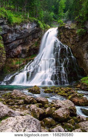 The Majestic Gollinger Waterfall In Austria