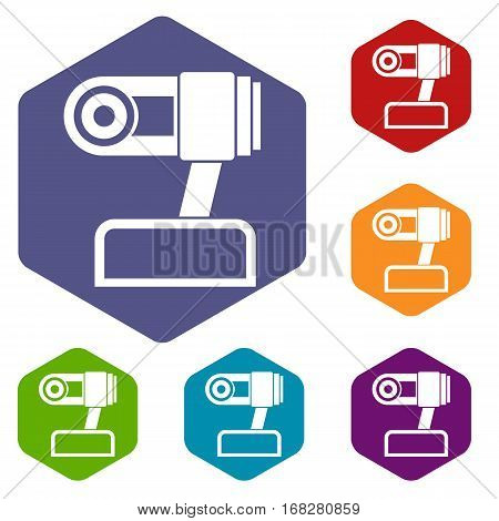 Webcam icons set rhombus in different colors isolated on white background