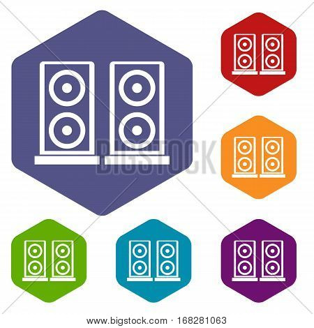 Music speakers icons set rhombus in different colors isolated on white background