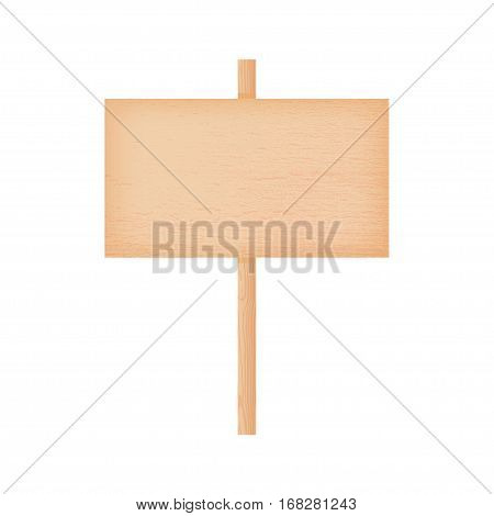 Natural textured beech wooden rectangular signboard on a pole vector illustration