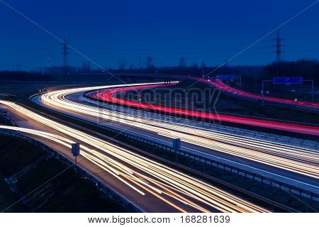 Speed Traffic Light Trails On Motorway M0 To Budapest