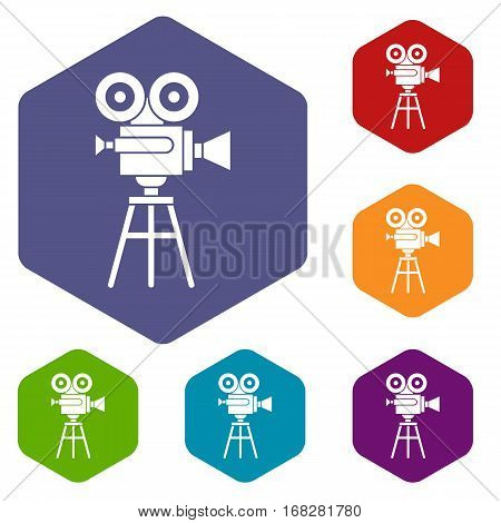 Retro film projector icons set rhombus in different colors isolated on white background