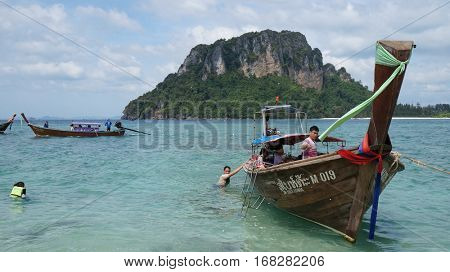 KRABI, THAILAND- December 25, 2016 : Traditional longtail boat at Railay Beach