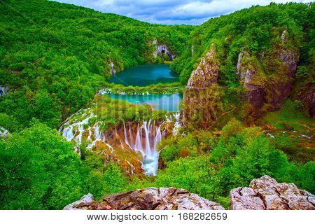 Beautiful waterfalls in Plitvice National Park Croatia
