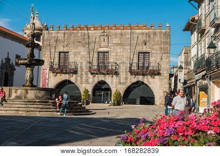 VIANA DO CASTELO PORTUGAL - 22 SEPTEMBER 2016: Famous Town Hall at the Praca da Republica in Viana do Castelo Portugal.