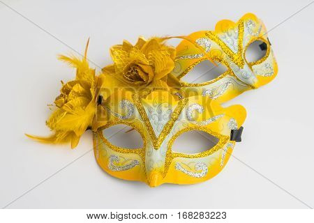 Colorful carnival mask on white background. Close up