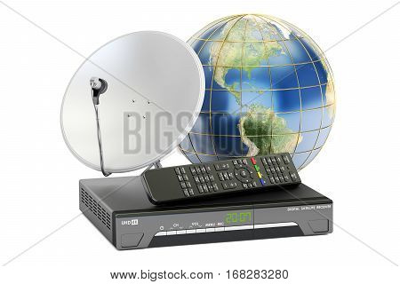 Global telecommunications concept. Digital satellite receiver with satellite dish and Earth 3D rendering