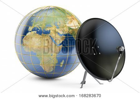 Satellite dish with globe earth global telecommunications concept. 3D rendering isolated on white background