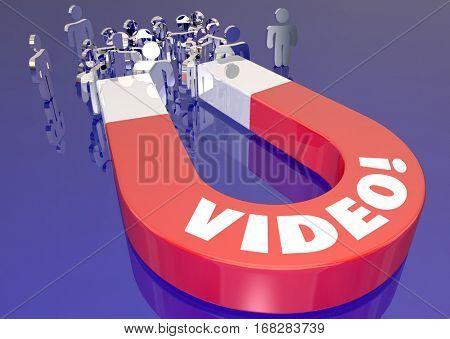 Video Attracts Customers Web Internet Traffic Magnet 3d Illustration
