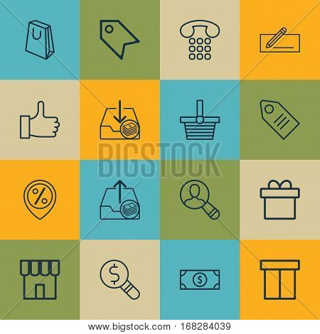 Set Of 16 Commerce Icons. Includes Callcentre, Box, Outgoing Earnings And Other Symbols. Beautiful Design Elements.
