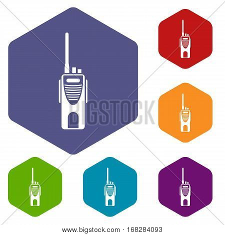 Radio transmitter icons set rhombus in different colors isolated on white background