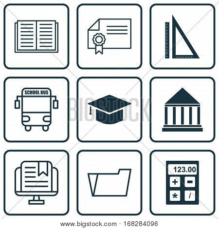 Set Of 9 Education Icons. Includes Document Case, Graduation, Opened Book And Other Symbols. Beautiful Design Elements.