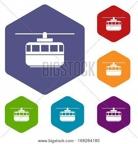 Funicular icons set rhombus in different colors isolated on white background