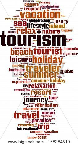 Tourism word cloud concept. Vector illustration on white