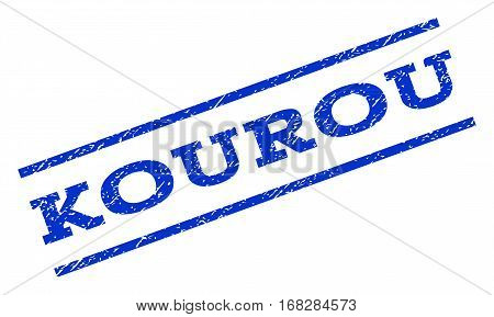 Kourou watermark stamp. Text tag between parallel lines with grunge design style. Rotated rubber seal stamp with unclean texture. Vector blue ink imprint on a white background.