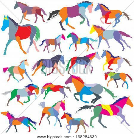 Big Set of patchwork vector colorful trotting and galloping horses silhouettes