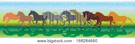 Vector background with horses and stars running gallop