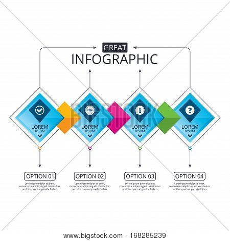 Infographic flowchart template. Business diagram with options. Information icons. Stop prohibition and question FAQ mark signs. Approved check mark symbol. Timeline steps. Vector
