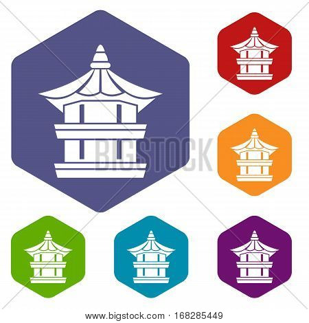 Traditional korean pagoda icons set rhombus in different colors isolated on white background